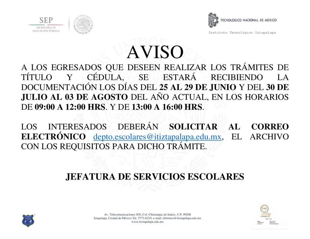 thumbnail of AVISO DE TRAMITE DE TÍTULO Y CEDULA